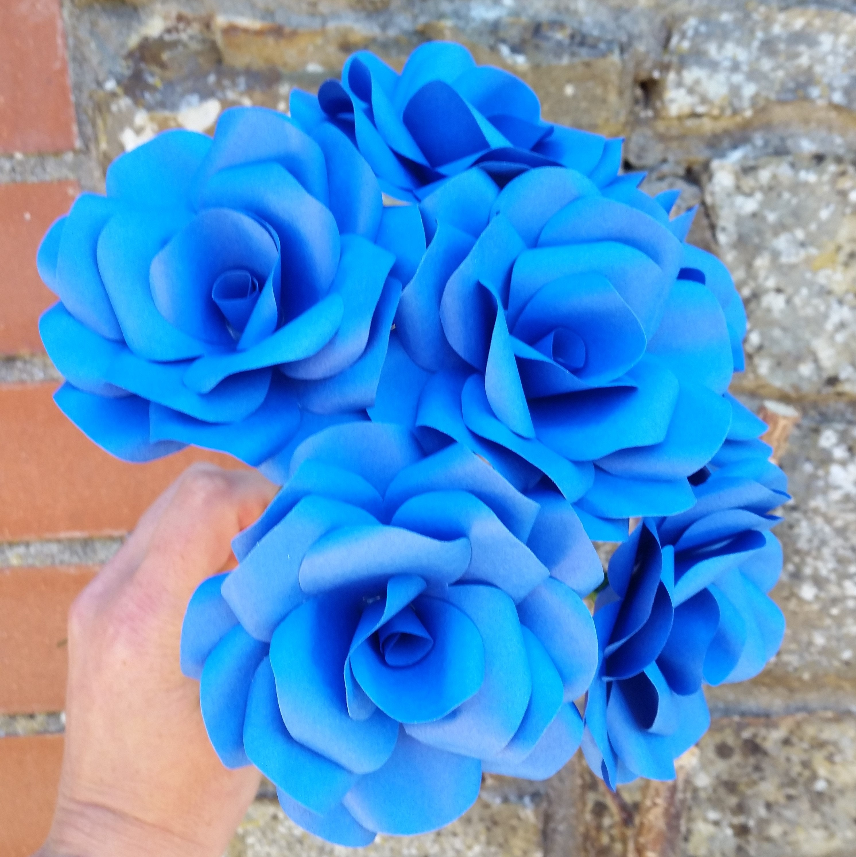 6 X Royal Blue Paper Roses Handmade Paper Flowers Forever Flowers Table Decoration Wedding Flowers Home Decor