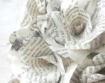 6 x Alice In Wonderland Book Page Paper Roses - Handmade Paper Flowers