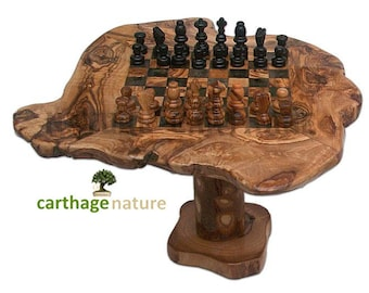 Christmas Gift, Fiance Gift, Birthday Gift, Wedding Anniversary, Olive Wood Rustic  Chess Set Board With Stand, Home Decor, Mom Present