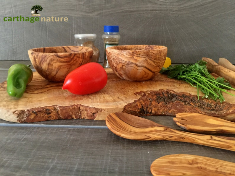 kitchenware Olive Wood board Original Christmas gift Tongs center table tableware 3 Utensils 2 Rond bowls mom present