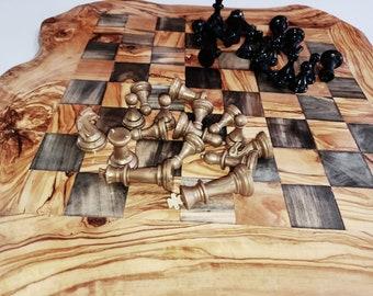 "Christmas gift, Birthday present, mom gift, daddy gift, olive wood rustic chess board 18"", boyfriend gift, girlfriend gift, wedding gift"