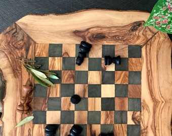 Christmas gift, birthday gift, wedding present, olive wood rustic chess set board 11.8, daddy gift, home decor, mom gift, boyfriend gift