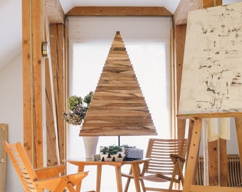 Wooden Christmas Tree / SMALL YELKA / 30in-75cm / Walnut, Oak or Maple wood / Black and White stand / minimalist, sustainable, ecological