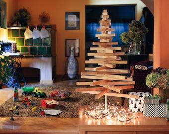 Wooden Christmas Tree / MEDIUM YELKA / 40in-100cm / Walnut, Oak & Maple wood / Black or White stand / minimalist, sustainable, ecological