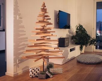 Wooden Christmas Tree / LARGE YELKA / 4,9feet-150cm / Walnut, Oak or Maple wood / Black or White stand / minimalist, sustainable, ecological