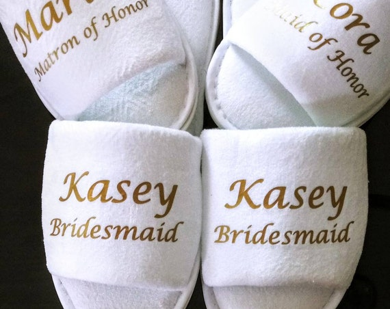 Personalized Bridesmaid Slippers - Personalized with Names and Titles - Slippers- Wedding Slippers - Bridal Slippers - Bridesmaid Gift