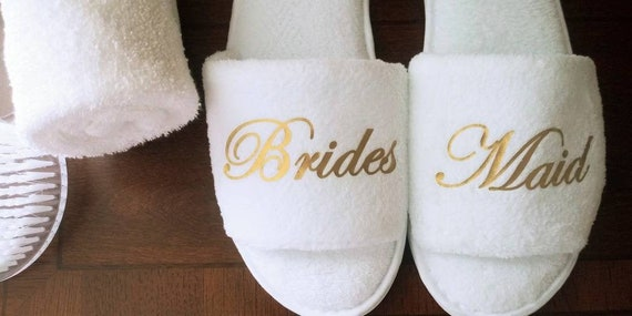 Bridesmaid Slippers - Wedding Party Gifts - Bride Slippers - Bridal Party Slippers -Rose Gold or Gold Fonts Only