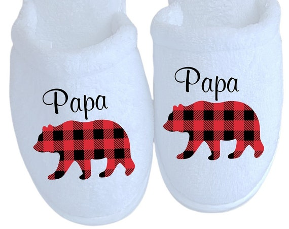 Papa Slippers - Christmas Bear Slippers - Customized slippers - Corporate Gifts - Family Christmas Slippers