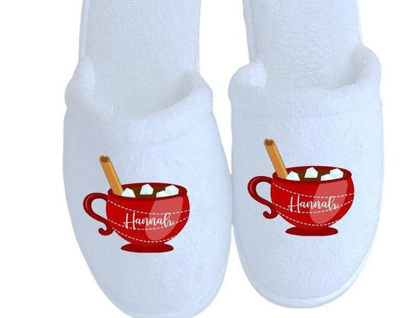 Hot Chocolate Personalized Slippers -Christmas Gifts - Slippers - Customized slippers - Corporate Gifts - Family Christmas Slippers