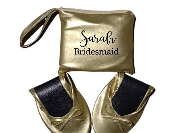 Bridesmaid Slippers - Bridesmaid Flats - Rollable Flats - Wedding Shoes - Ballerina Flats - Bridesmaid Gifts - Blank NO Names