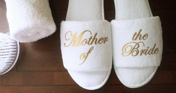 Mother of the Bride - Bridesmaid Slippers - Wedding Party Gifts - Bride Slippers - Bridal Party Slippers -Rose Gold or Gold Fonts Only