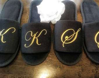 08d0e1dcb976d Monogrammed Slippers - Personalized Slippers - Bridesmaid Gift - Slippers -  Girls Trip Gift - Black Slippers - Cruise Slippers - Birthday