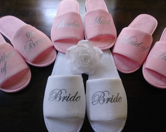 06caedcc4c35d Bridesmaid Slippers - Personalized Slippers - Bride Slippers - Slippers -  Hen Slippers - Pink