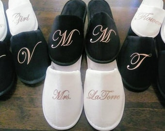 87dd1afe0beb Personalized Slippers- Monogrammed Slippers - Bridesmaid Gift - Slippers -  Black Slippers -Rose Gold - Bachelorette party -Thin Spa Slippers