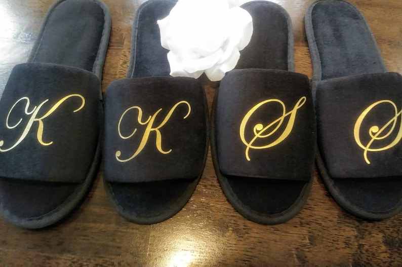 a23df1102738 Monogrammed Slippers Personalized Slippers Bridesmaid Gift