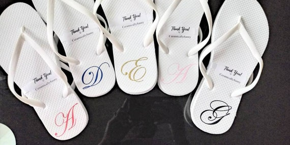 Monogrammed Flip Flops - Bridesmaid Slippers - Bridesmaid Flip Flops - Bridesmaid Gifts - Personalized Flip Flops - Gift Boxes