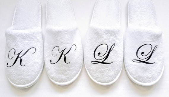 Personalized Slippers- Monogrammed Slippers - Bridesmaid Gift - Slippers - Black Slippers -Rose Gold Font Available - New Brand in 3 sizes
