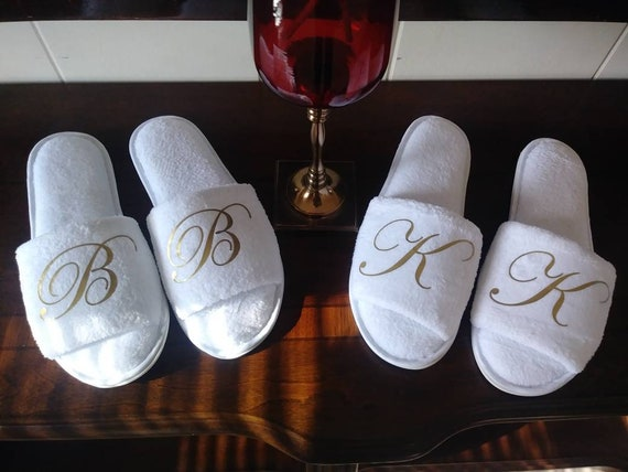 Monogrammed Slippers -  Personalized Slippers with Bridesmaid Initials - Perfect for Bridal Party Gifts - Rubber Soles on White Slippers