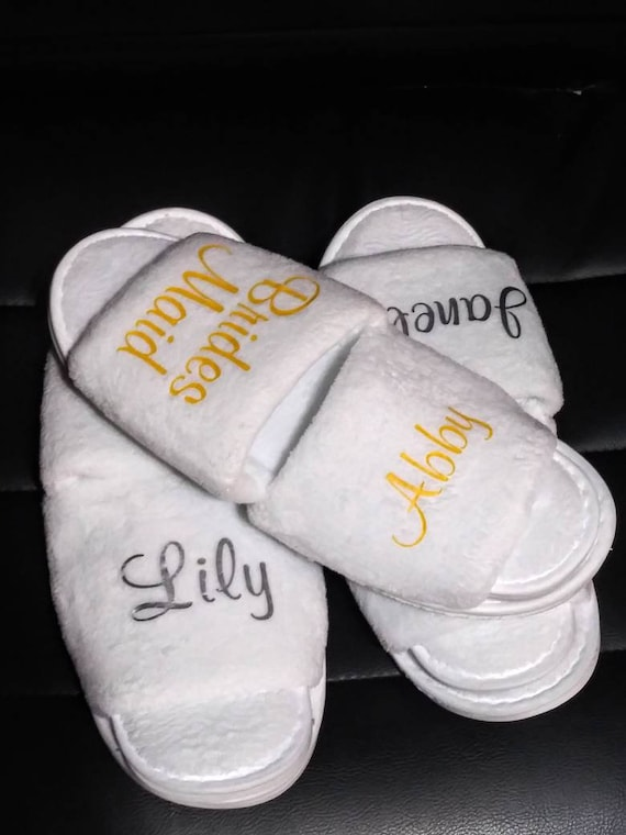 Bridesmaid Slippers - Bridal Party- Bridal Party Gifts - Bridesmaid Gift Ideas - Bride Slippers - Names and Titles