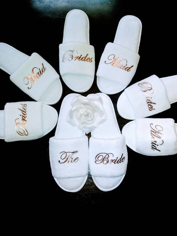 Matching Slippers for your robes - Wedding Robes - Bridesmaid Robes - Bridal Party Robes - Bridesmaid gifts - Hard Rubber Soles