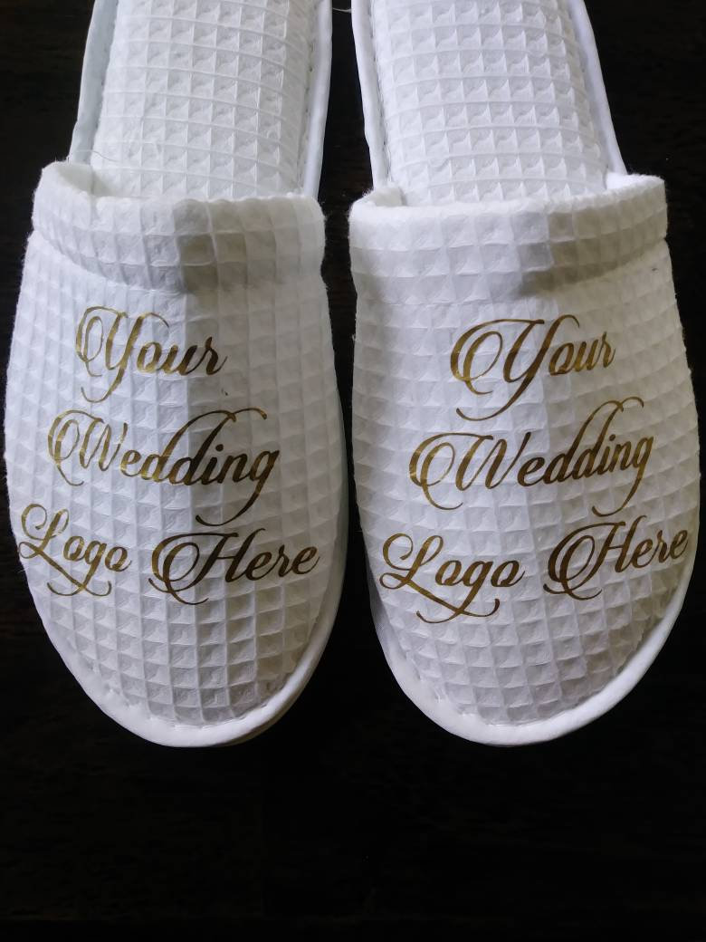 7986bbcdc544 Personalized Waffle Slippers- Bridesmaid Slippers - Custom Slippers -  Slippers - Customized slippers - Personalised Slipper - Wedding logo