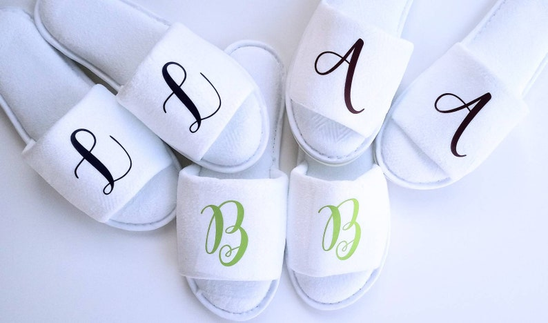 9eb5463cd14ca Monogrammed Slippers - Personalized Slippers - Bridesmaid Gift - Slippers -  Girls Trip - Bridesmaid Initials - Bridal Party Gifts
