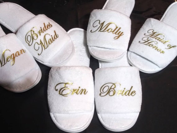 Bridal Party Gifts - Bridesmaid Gift Ideas - Bride Slippers - Names and Titles - Bridesmaid Slippers