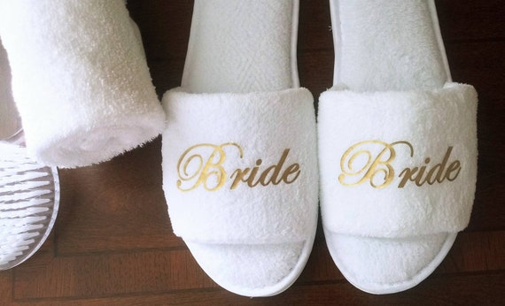 Wedding Party Gifts - LONG TERM WEAR - Bridesmaid Slippers - Bride Slippers - Bridal Party Slippers -Rose Gold
