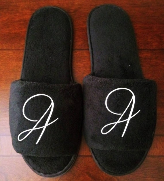 Monogrammed Slippers - Custom Slippers - Bridesmaid Gift - Slippers - Girls Trip Gift -  Bridesmaid Initials Font 5 black slippers