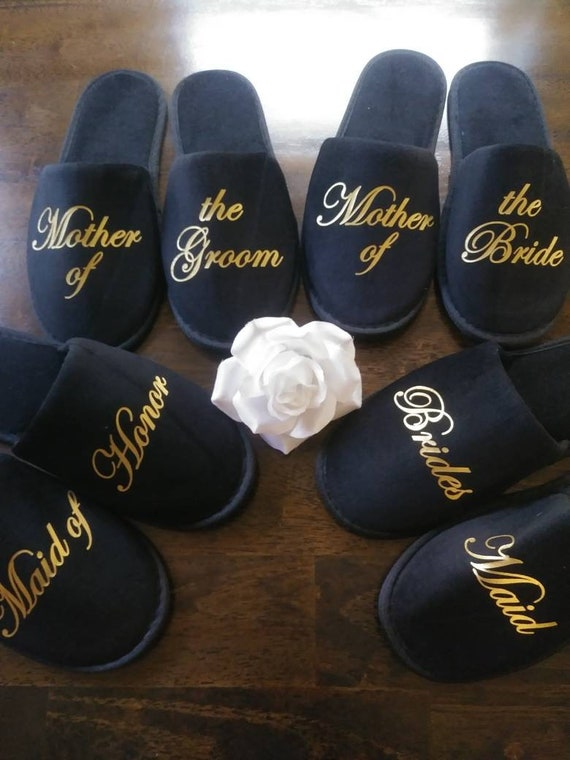 Personalized Bridesmaid Slippers - Bridesmaid Gifts - Bridal Shower Gift - Bride Slippers - Bachelorette - Ships from the USA