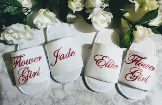 Personalized Flower Girl Slippers, Personalized Kids Slippers, Birthday Girl Spa Day Slippers, Birthday party Spa slippers, spa slippers