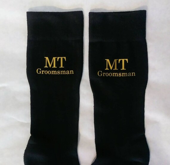 Groomsmen Socks - Monogrammed Socks - Wedding Party - Black casual socks -Add your own wording! Customizable! Great for photos!