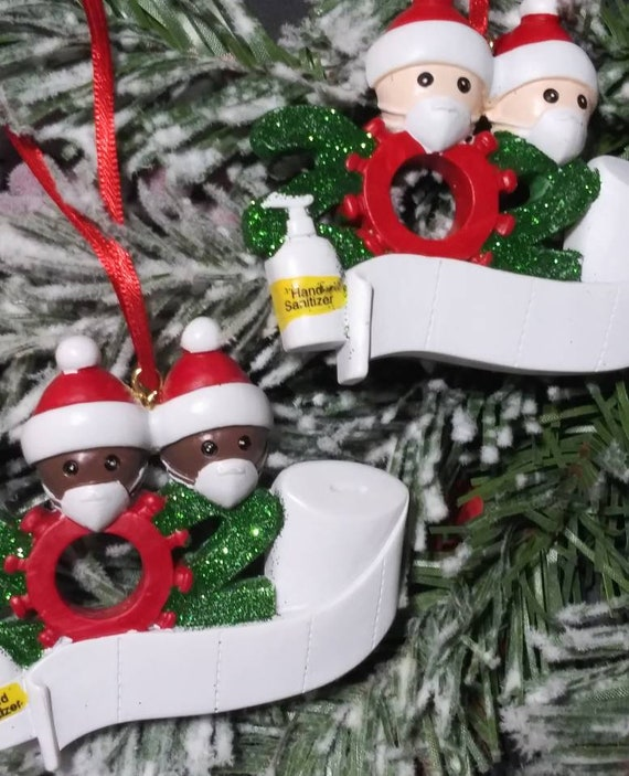 DIY Family Christmas Ornaments - Covid Ornaments - 2020 Quarantine Keepsake - Christmas Ornament Family of 2 3 4 or 5