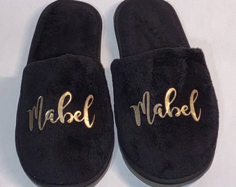 Personalized Slippers- Bridesmaid Slippers - Customized slippers - One or two color Company Logos - Corporate Gifts - Black Available