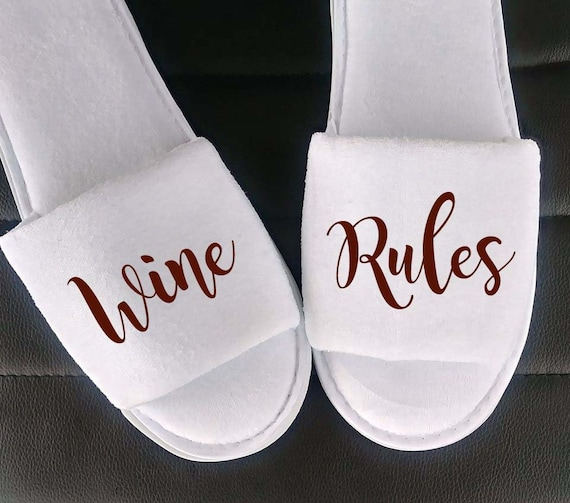Wine Rules - Birthday Gift - Personalized Slippers