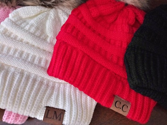 Personalized Beanie - Christmas Hat - Gifts under 20 - Personalized Hats - Pom Pom Beanies - Red Hat