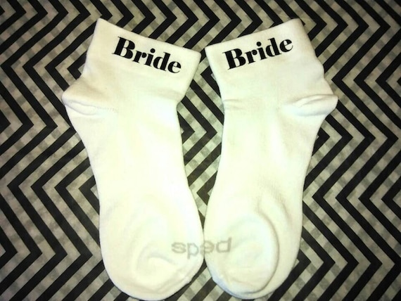 Wedding socks - Bride socks - Weddings - Bride - Bridal Shower Gift - Wedding Party- Multiple Color Font Available.