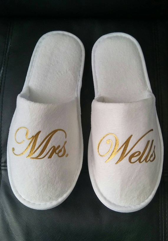 Bridal Shower Gift Bride Slippers Personalized Bridal Slippers Bridal Party Gift Wedding Slippers Bridesmaid Gifts - Wedding Gift