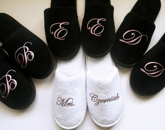 Bridesmaid Slippers - Personalized Slippers- Monogrammed Slippers - Bridesmaid Gift - Slippers - Black Slippers -Rose Gold Font