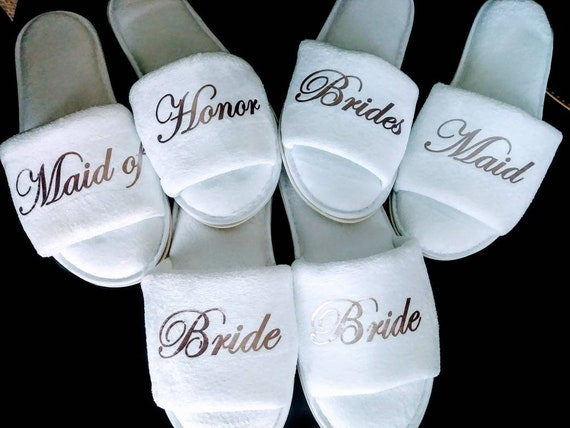 Bride and Bridesmaid Slippers - Personalized Slippers - Slippers -Bridal Party Slippers - Rose Gold- Hard Rubber Soles on Open Toe Slippers