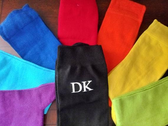 Groomsmen Socks - Monogrammed Socks - Wedding Party - Black casual socks! Customizable! Great for photos! Black, Grey, Burgundy, Beige, Navy