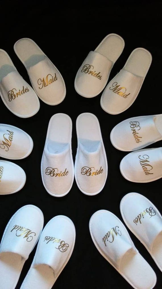 Slippers for Bridesmaids - Perfect Bridesmaid Gifts - Bride Slippers - Wedding Party Slippers - Bachelorette Party  - Bridesmaid Propsal