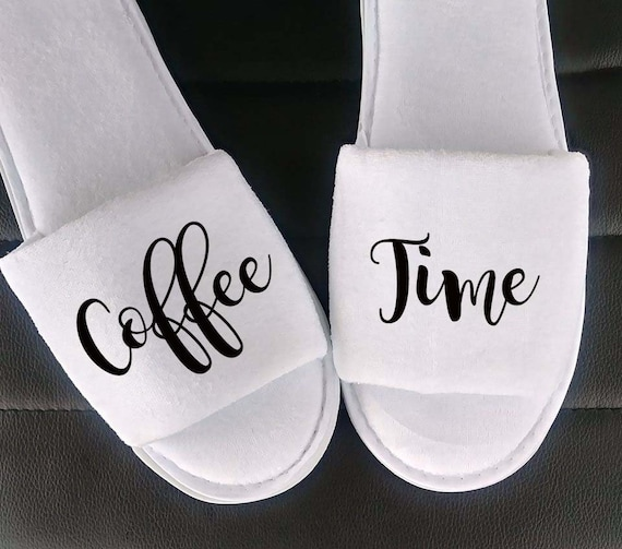 Coffee Times Slippers - Birthday Gift - Personalized Slippers - Coffee Lovers