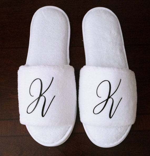 Monogrammed Slippers - Custom Slippers - Bridesmaid Gift - Slippers - Girls Trip Gift -  Bridesmaid Initials Font 5