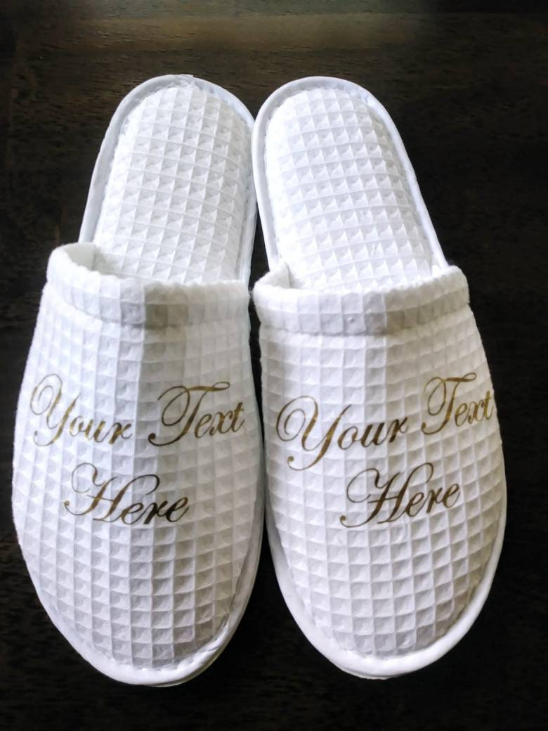 6f04d5fa4102 Personalized Waffle Slippers- Bridesmaid Slippers - Custom Slippers -  Slippers - Customized slippers - Personalised Slipper - Rubber Sole