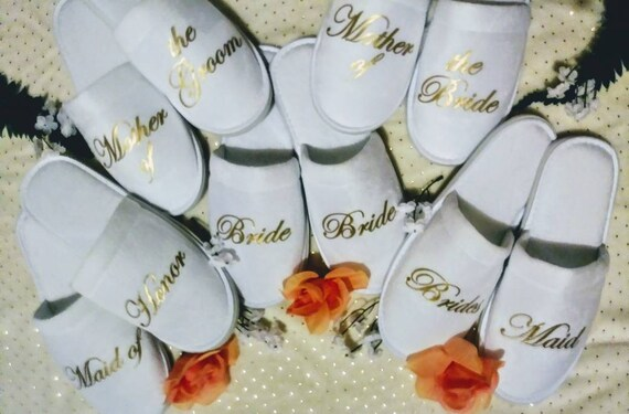 Bride Slippers - Bridesmaids Gifts - Bridesmaid slippers - Wedding slippers - Personalized Slippers - Thin Spa Slippers - Bridal Party Gift