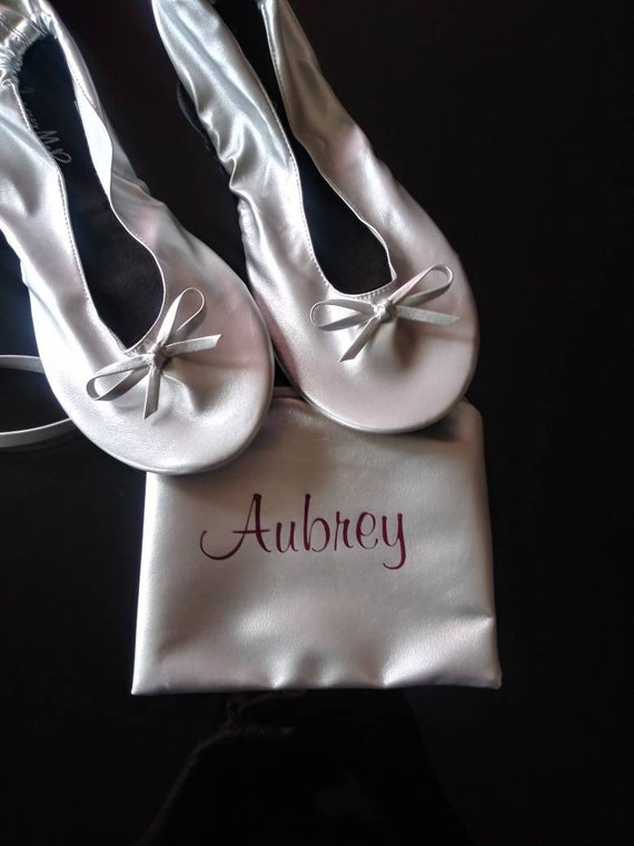 Bridesmaid Flats - Rollable Flats - Wedding Shoes - Wedding Flats - Personalized Ballerina Flats - Bridesmaid Gifts - Bridesmaid Slippers