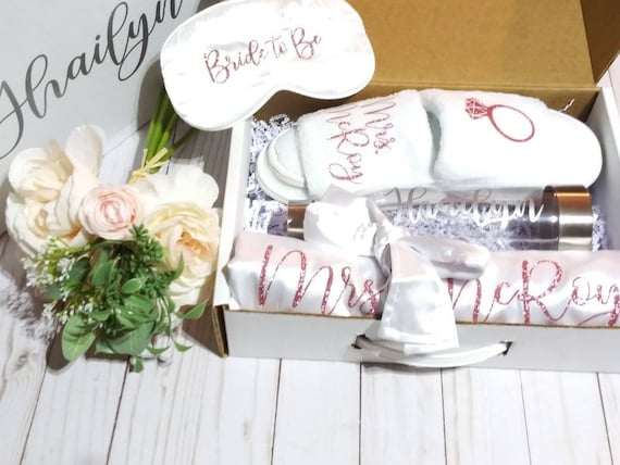 Bride Gift Box - Bride to be - Personalized Slippers - Bridal Robe - Personalized Water bottle -Bridal Shower Gift - Free Eye Mask