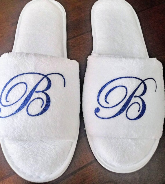 Personalized Slippers- Glitter Monogrammed Slippers - Custom Slippers - Bridesmaid Gift - Slippers - Girls Trip Gift - Bridesmaid Initials