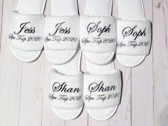 Personalized Slippers - Custom Slippers - Slippers with Names - Bridesmaid Slippers  - Cruises - Girls trip - Spa Day
